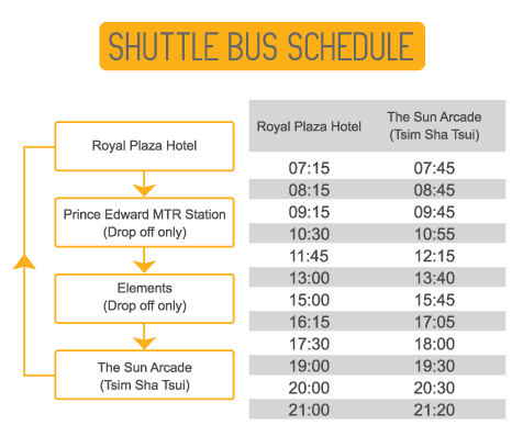 Royal Plaza Hotel, Shuttle Bus Schedule